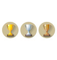 Gold silver and bronze winners cup flat icon vector