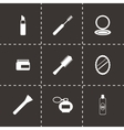 Black cosmetics eyes icons set vector
