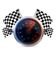 Racing speedometer and checkered flags vector