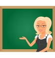 Blonde teacher showing something on green board vector