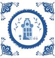 Delft blue house vector