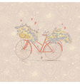 Cute vintage card with a bike and flowers vector