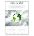 Eco globe on sky background flyer design vector