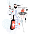 Drinks and food vector