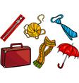 Accessories objects cartoon set vector