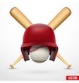 Symbol of a baseball helmet ball and two bats vector