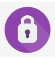 Single flat padlock icon with long shadow vector