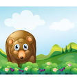 A brown bear at the garden vector