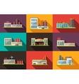 Set of flat design industrial buildings pictograms vector