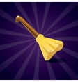 Cartoon broom isolated on purple background vector