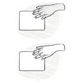 Hand sketches holding cards vector