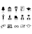 Black college icons set vector