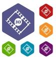 3d film rhombus icons vector