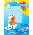 Portrait border with teddy bears for a baby boy vector