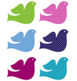 Colorful doves set isolated on white vector