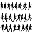 Set of silhouettes runners on sprint men vector