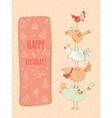 Doodle birthday card with birds vector