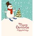 The snowman on skis cozy retro christmas card vector