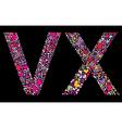 Letter v x valentine alphabet vector