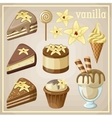 Set of sweets vanilla vector