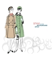 Sketch girls in fashion clothes eps vector