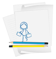 A paper with a drawing of a girl holding two bags vector