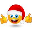 Yellow round emotion in santa hat vector