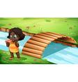 A black little girl near the bridge vector