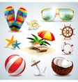 Summer holiday icon set on clear background vector