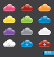 Button with cloud color icon vector