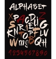 Hand drawn alphabet in retro style abc for your vector
