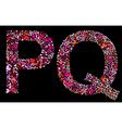 Letter p q valentine alphabet vector