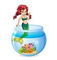 A mermaid inside the aquarium vector