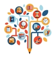 Tree with education icons vector
