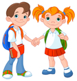 Boy and girl ready to school vector