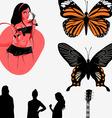 Music girl butterfly vector