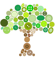 Tree made of green and brown buttons vector