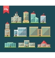 Set of flat design buildings icons vector