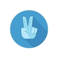 Hand showing number two or victory gesture vector