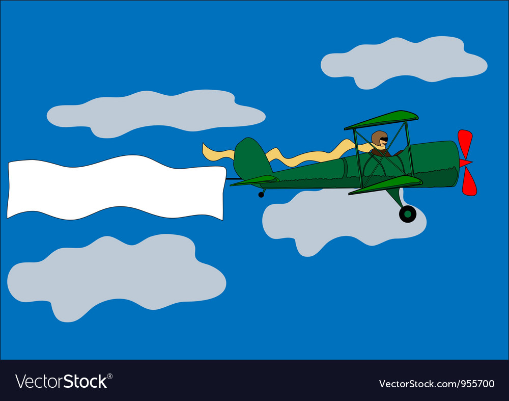 Airplane banner biplane vector | Price: 1 Credit (USD $1)
