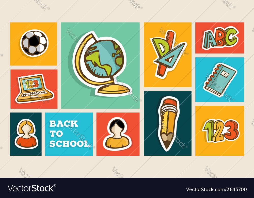 Back to school icon set vector | Price: 1 Credit (USD $1)