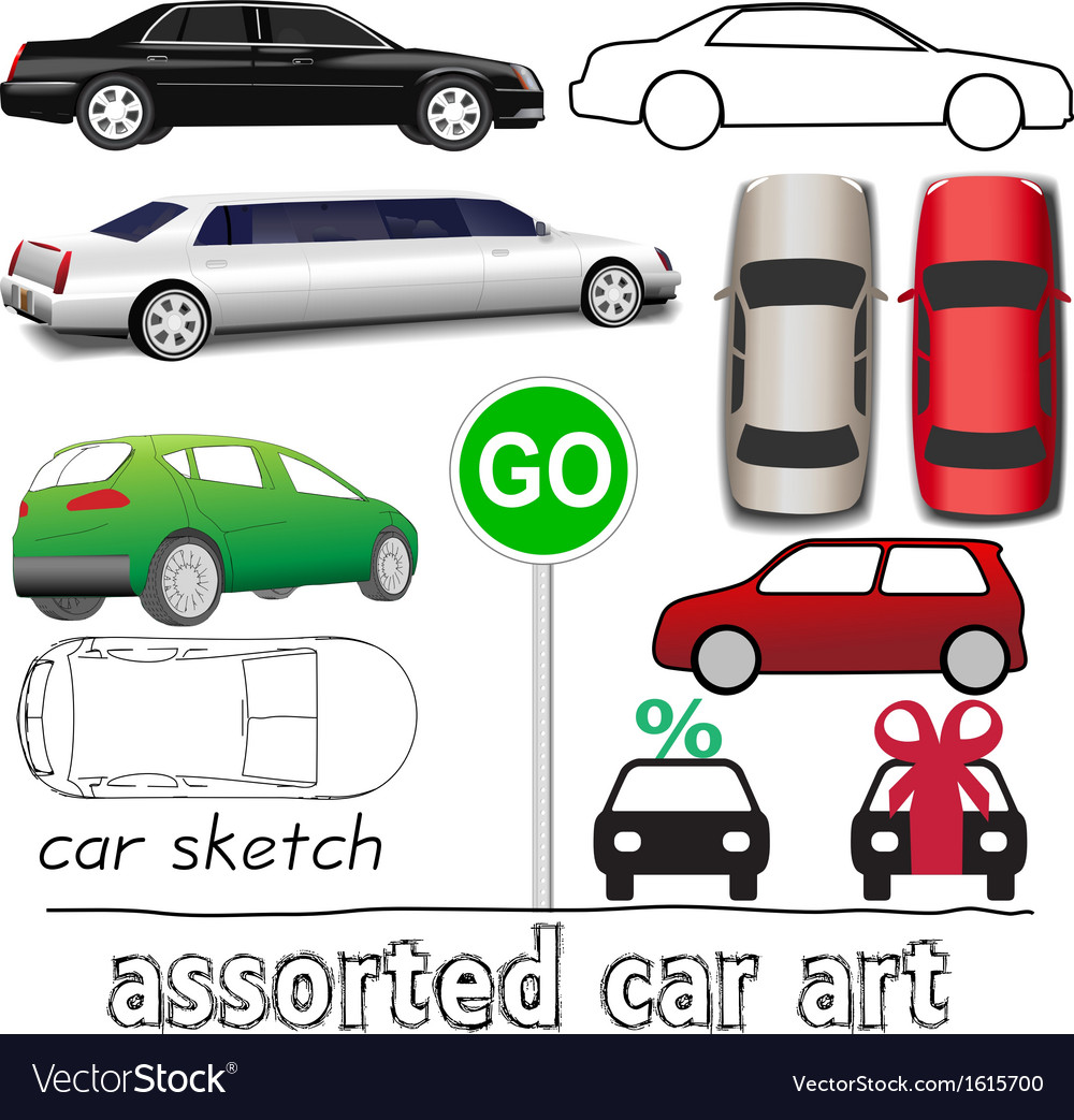 Car symbols auto transportation set vector | Price: 1 Credit (USD $1)