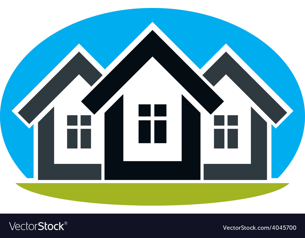 District conceptual - three simple houses houses vector | Price: 1 Credit (USD $1)