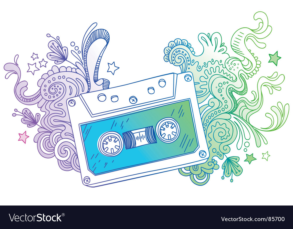 Hand drawn audio cassette vector | Price: 1 Credit (USD $1)