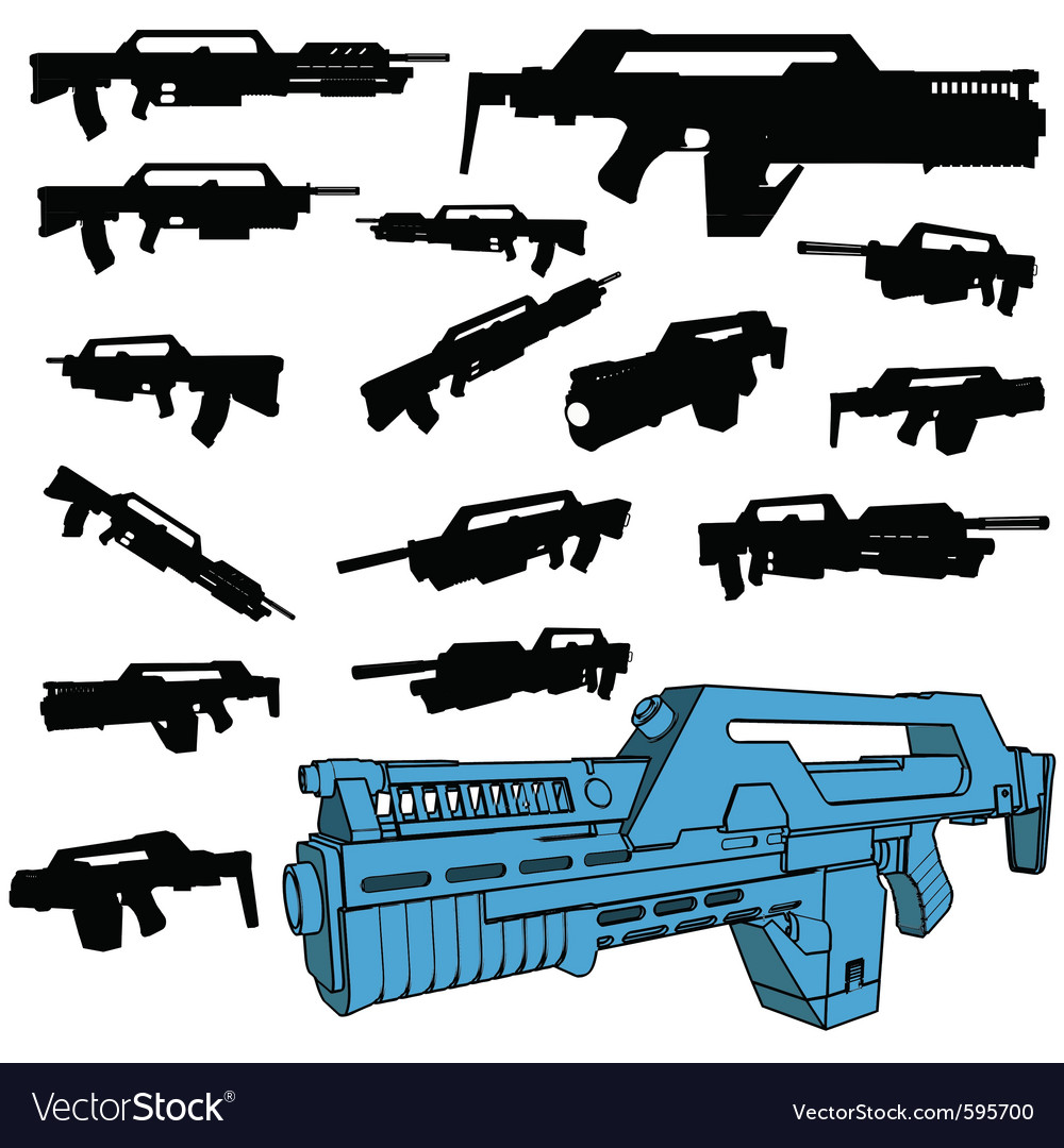 Machine gun silhouettes vector | Price: 1 Credit (USD $1)