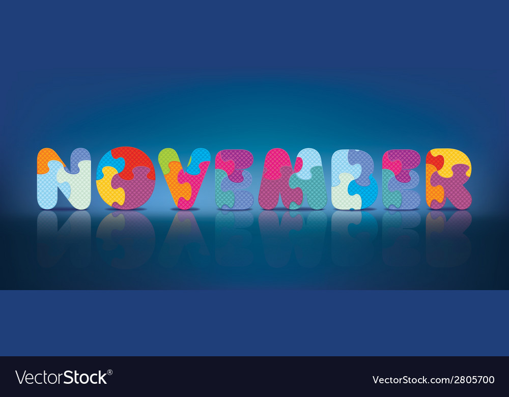 November written with alphabet puzzle vector | Price: 1 Credit (USD $1)