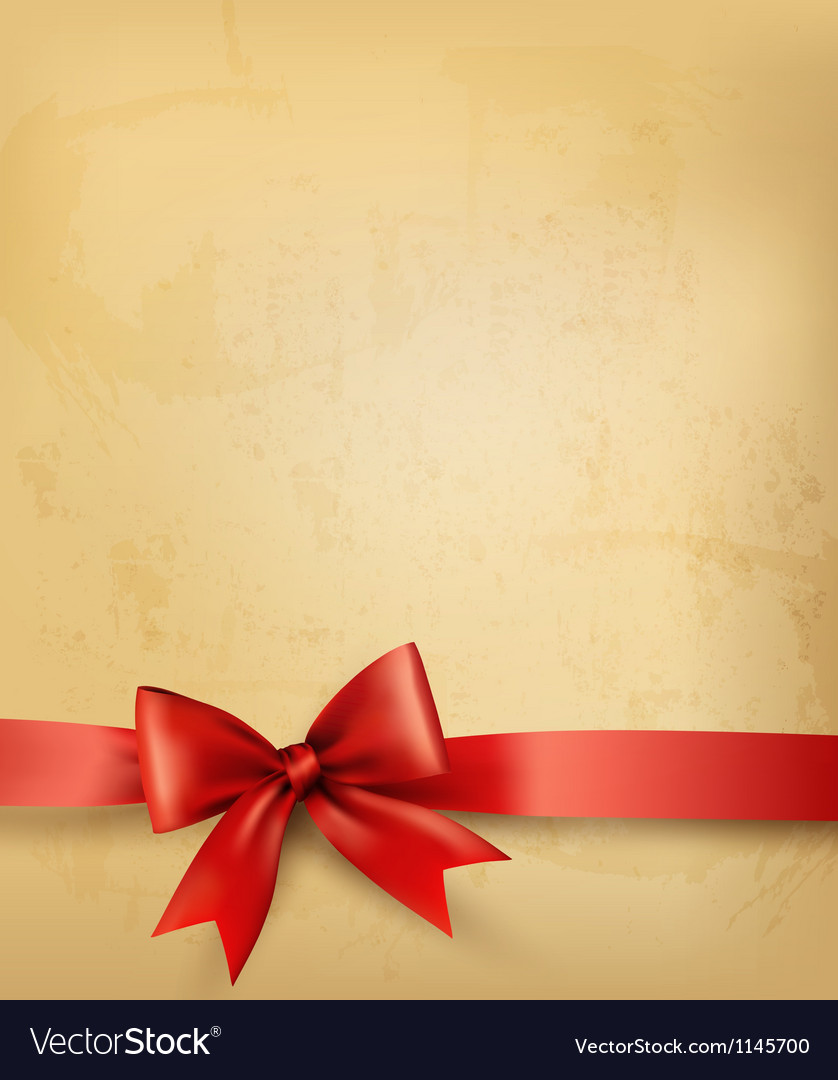 Old background with red bow and ribbon vector | Price: 1 Credit (USD $1)