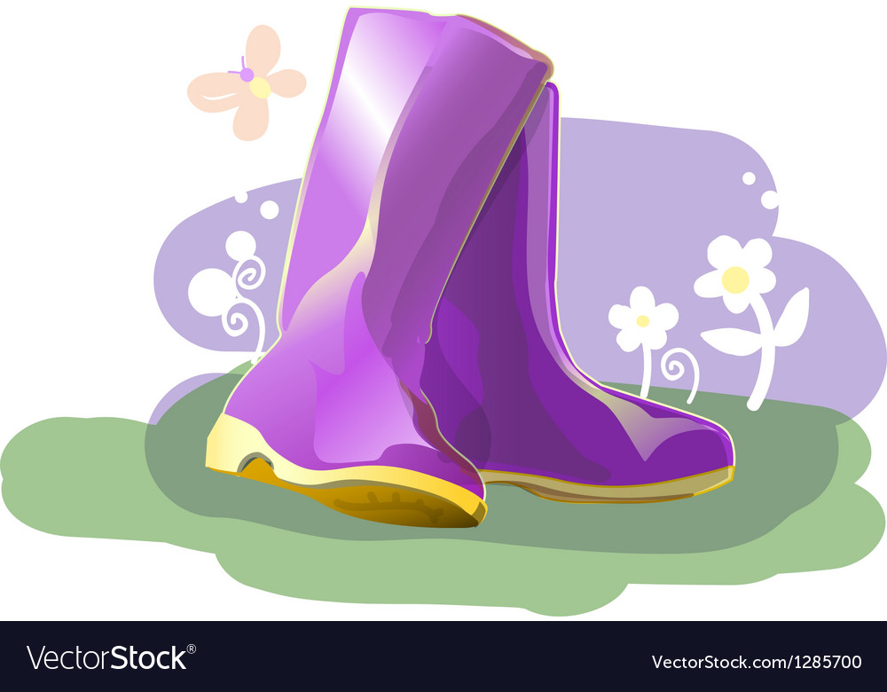 Pair of shiny rain boots vector | Price: 1 Credit (USD $1)