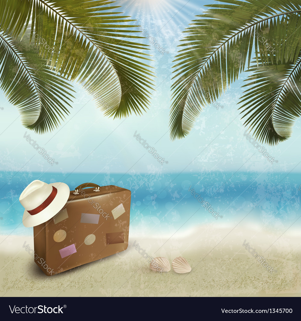 Vintage beautiful seaside background with suitcase vector | Price: 1 Credit (USD $1)