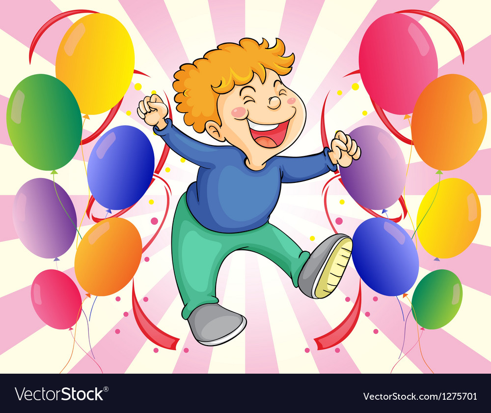 A boy jumping with balloons at his side vector | Price: 1 Credit (USD $1)